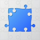 Frame Blue Background Puzzle. Jigsaw Puzzle Banner. Vector Illustration Template Shape. Abstract Puz poster