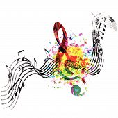 Music Colorful Background With G-clef And Music Notes Vector Illustration Design. Music Festival Pos poster