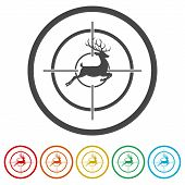 Hunting Season With Deer In Gun Sight, 6 Colors Included poster