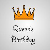 Illustration Of Crown With Queens Birthday Text On The Occasion Of Australia Queens Birthday poster