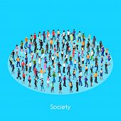 Isometric Concept Of Society. Set Of Isometric People With Different Skin Color. Crowd Of People. 3d poster
