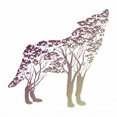 Vector Double Exposure, Wolf For Your Design, Wildlife Concept poster