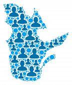 Population Quebec Province Map. Demography Vector Mosaic Of Quebec Province Map Composed Of Random M poster