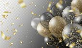 Transparent Realistic Balloons And Golden Confetti Isolated On Transparent Background. Party Decorat poster