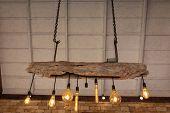 Lamp Light Hanging Interior Design. Incandescent Lamps In Modern Cafe. Edison Lamp. Vintage Style. poster