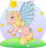 Cute Little Pony Unicorn Went For A Walk, Funny Illustration poster