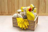 House Cleaning Product In Wooden Box. Spray, Bottle, Gloves, Dishwashing Sponge, Scraper, Gel Air Fr poster
