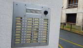 Intercom With Doorbells Of A Residence With Many Apartments With Special Electronic Key View From Th poster