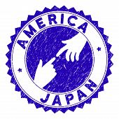 Connecting America Japan Stamp Seal. Blue Vector Round Distress Seal Stamp With Connecting Hands For poster