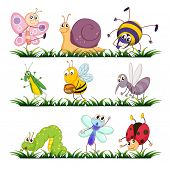 stock photo of mayfly  - Illustration of bugs on grass - JPG