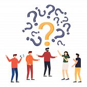 People Frequently Asked Questions Around Question Marks. Question Answer Metaphor. Vector Illustrati poster