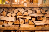 Stacks Of Firewood. Preparation Of Firewood For The Winter.pile Of Firewood.firewood Background poster