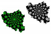 Centre-nord Region (regions Of Burkina Faso, Burkina Faso) Map Is Designed Cannabis Leaf Green And B poster