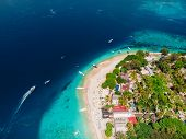 Tropical Island With Holiday Beach And Turquoise Ocean, Aerial View. Gili Islands poster