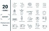 Airport Icon Set. Include Creative Elements Takeoff, Around The World, Airport Tower, Airplane Seat, poster