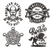 Vintage Wild West Monochrome Labels With Crossed Smoking Pipes Guns Sheriff Badge Star Cowboy Head R poster