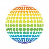 Abstract Full Color Rainbow Spectrum Dotted Sphere. Spotted Ball For Business Concept Or Logo Design poster