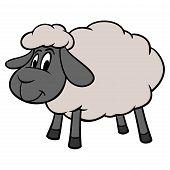 Sheep Mascot - A Cartoon Illustration Of A Cute Sheep Mascot. poster