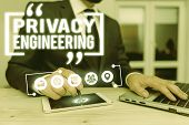 Text Sign Showing Privacy Engineering. Conceptual Photo Engineered Systems Provide Acceptable Levels poster