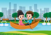 Valentine Couple Boating Vector Background Concept. Valentines Lovers Character Dating And Riding A  poster