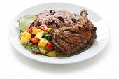 foto of jamaican  - jerk chicken plate - JPG