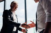 Business Partnership Successful Meeting Concept. Image Businessman Handshake. Business Etiquette. Su poster