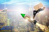 Woman flying rocket and delivering boxes poster