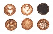 Set Latte Art , Heart Shape, Ice Coffee, Latte Art Coffee Isolated On White Background. Top View Of  poster