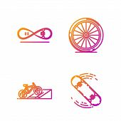 Set Line Skateboard Trick, Bicycle On Street Ramp, Skateboard Trick And Bicycle Wheel. Gradient Colo poster