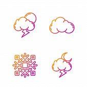Set Line Storm, Snowflake, Storm And Cloud. Gradient Color Icons. Vector poster