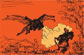 Fire-breathing Dragon Attacks Rider, Color Vector Isolated Pen Drawing poster