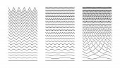 Wavy Curved And Zigzag Collection. Set Of  Horizontal Lines. Wave Line And Wavy Zigzag Lines. Set Of poster