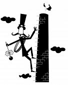 Funny Long Mustache Chimney Sweeper Illustration. Mustache Chimney Sweeper In The Top Hat With The R poster
