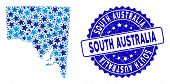 Blue South Australia Map Composition Of Stars, And Scratched Rounded Stamp. Abstract Geographic Sche poster