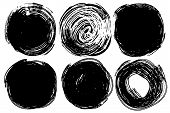 Vector Set Of Hand Drawn Circles For Backdrops. Monochrome Artistic Hand Drawn Backgrounds. Hand Dra poster