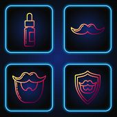 Set Line Mustache And Beard On Shield, Mustache And Beard, Glass Bottle With A Pipette And Mustache. poster