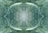 The Flower Of Life Mandala Background - Jade Green Ethereal Energy Background With Central Soft Focu poster