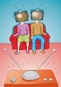 stock photo of brainwashing  - Illustration  of people watching TV - JPG