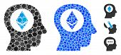 Ethereum Mind Mosaic Of Round Dots In Various Sizes And Color Tones, Based On Ethereum Mind Icon. Ve poster