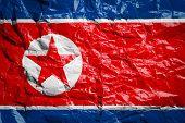 National Flag Of North Korea On Crumpled Paper. Flag Printed On A Sheet. Flag Image For Design On Fl poster