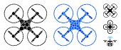 Quadcopter Composition Of Round Dots In Various Sizes And Color Hues, Based On Quadcopter Icon. Vect poster