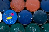 Old Chemical Barrels. Blue, Green, Orange Oil Drum. Steel Oil Tank. Toxic Waste Warehouse. Hazard Ch poster