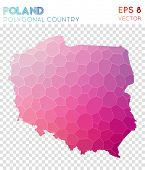 Poland Polygonal, Mosaic Style Country Map. Alluring Low Poly Style, Modern Design For Infographics poster