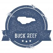 Buck Island Reef Logo Sign. Travel Rubber Stamp With The Name And Map Of Island, Vector Illustration poster