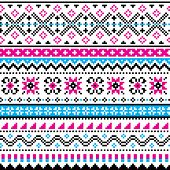 Scottish Fair Isle Style Traditional Knit Vector Seamless Pattern, Shtelands Knitwear Repetitive Des poster