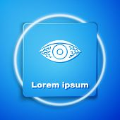 White Reddish Eye Due To Viral, Bacterial Or Allergic Conjunctivitis Icon Isolated On Blue Backgroun poster