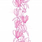 Vector Vertical Seamless Pattern With Outline Cyclamen Or Alpine Violet Bunch In Pastel Pink On The  poster
