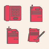 Set Blank Notebook And Pencil With Eraser, Telephone, File Document And Paper Clip And File Document poster