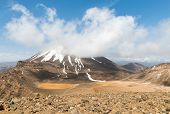 Mount Ngauruhoe Covered By Cumulus Cloud In Tongariro National Park, New Zealand poster