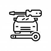 Black Line Icon For Auto-repair Auto Repair Workshop Service Technology Vehicle Car Workshop poster
